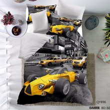 3D Yellow Cars Bedding Sets High Quality Twin Full Queen Duvet Cover Set#N-YY-(China)