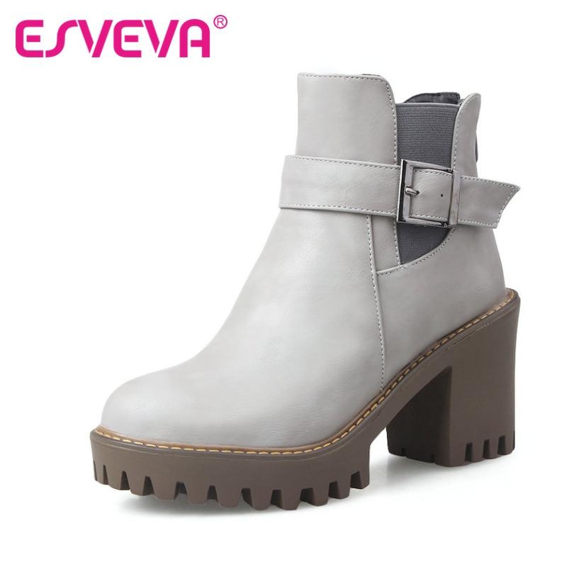 ESVEVA 2017 Autumn Punk Shoes Women Round Toe Ladies Square High Heel Buckle Ankle Boots Platform Lady  Fashion Boots Size 34-43<br><br>Aliexpress