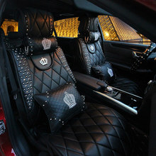 Free shipping Universal Car Seat Covers Sedan Rhinestone decoration Car interior Accessories Women and Girls for mercedes toyota