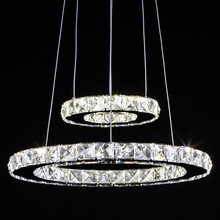 Wonderland Modern LED 1-4 Rings Luxury Stainless Steel Crystal Pendant Light CE Lamp Creative Office Hotel Home Living Room(China)