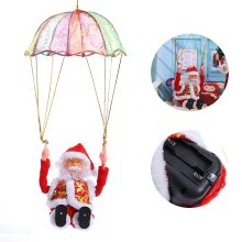 Christmas Santa Claus Doll Electric Toy Christmas Tree Ornament Parachute Christmas Doll Pendant New Year Decor Christmas Toys(China)