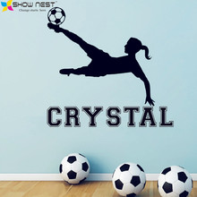 Free Shipping - Girl Soccer Vinyl Wall Decal, Custom Girls Name Stickers, Girls Rooms Wall Art Mural Decor, Football Wallpaper
