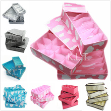 3pcs=1set  Fashion Colourful Folding Storage Box Bag Grid Pattern for Bra Underwear Necktie Sock Organizer
