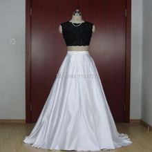 Attractive Design New Brand A-line Two Pieces Dress Prom Fashion Ladies Long Dress With Pearls Appliques