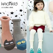 DHL EMS Free Shipping Lovely Baby Girls Owl Cat Bunny Winter Socks Fleece Children Leg Warmers Winter Black Socks Infant Wear