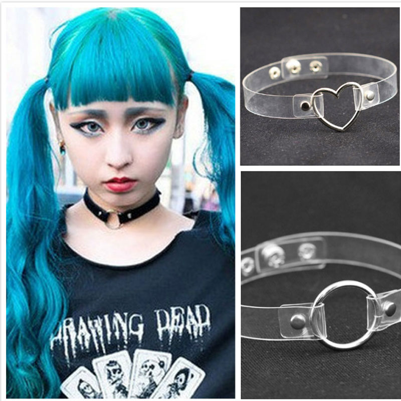 Holographic Choker Punk Laser Leather Love Heart Collar Necklace 4 Rivet Buckle