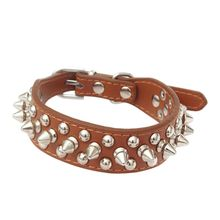 Pet Collars Adjustable PU Leather Punk Rivet Spiked Studded Pet Puppy Dog Collar Shine Neck Straps