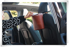 NEW leather Car garbage can Car Trash Can Garbage Dust Case Holder Bin for mercedes w205 seat leon peugeot 207 307 nissan kia(China)