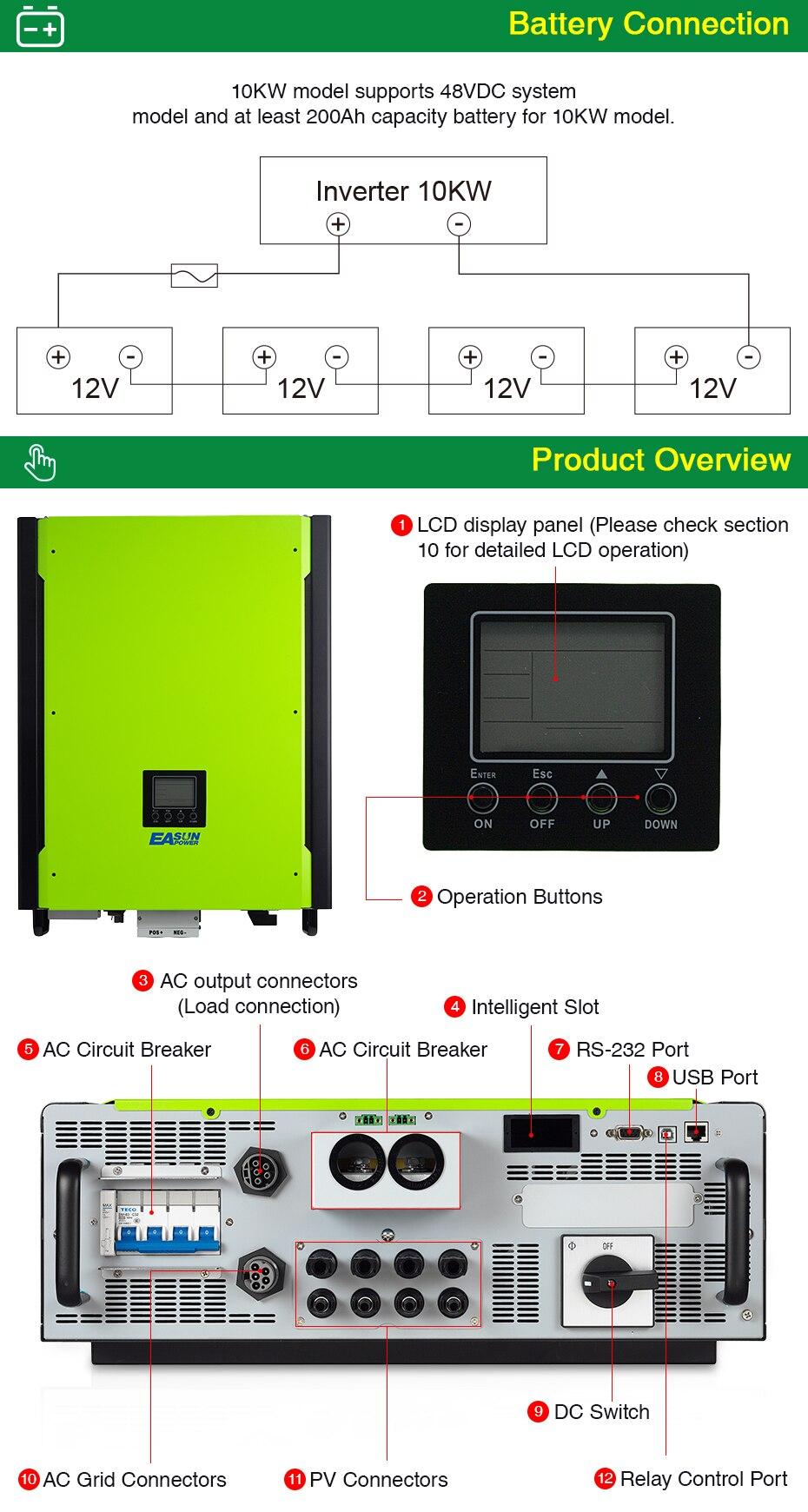EASUN POWER 10KW Solar Inverter 48V 380V Grid Tie Inverter 3 Phase On Grid Off Grid Inverter With Max Solar Power 14850W MPPT_04