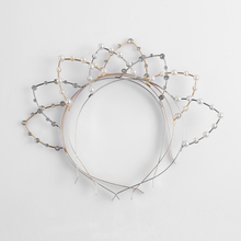 1PC Hot Sale New Hot Sell Cute Fashion Silver/Golden Metal Rhinestone Cat Ear Girl Head Band Beaded Hair Band(China)