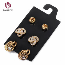 DANZE 3 Pairs/lot Gothic Big alloy Stud Earrings Set Women Gold silver Color Ear Studs Copper heart bowknot brincos Jewelry