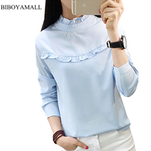 BIBOYAMALL 2017 New Hot Women Blouse White Shirt Top Femme Casual Stand Long Sleeve OL Work Sliod Blouses Women's Blusa Shirts(China)