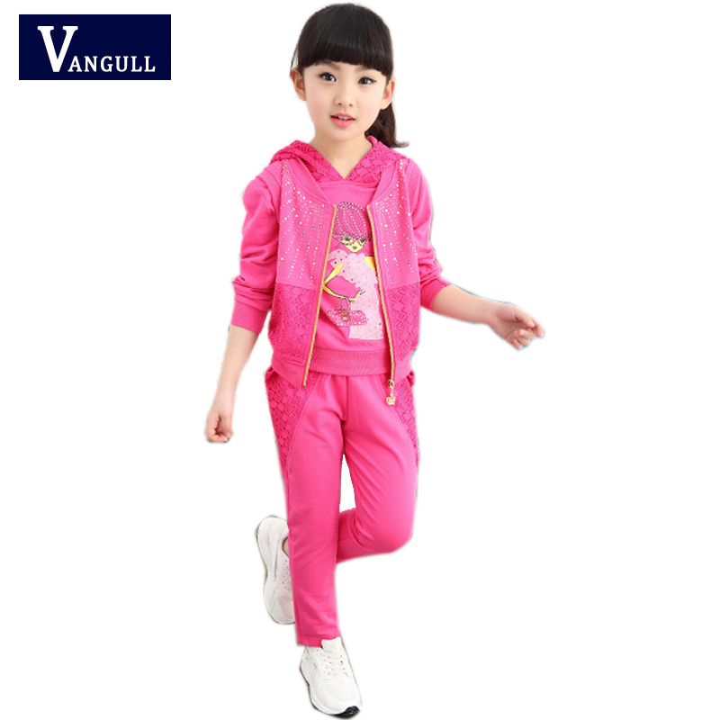 Spring 2017 new spring Korean childrens clothing girls sports suit three-piece childrens casual sweater<br><br>Aliexpress