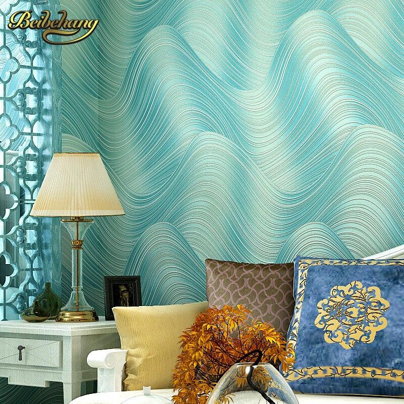 beibehang European Mural Non-woven Wallpaper for wall Modern Living Room Simple Wave Design Wall Paper 3d Papel De Parede Roll<br>