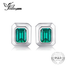 JewelryPalace Created Emerald Vintage Cufflinks For Men 925 Solid Sterling Sliver Unique Emerald Cut Fashion Charm(China)