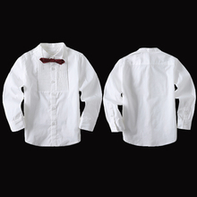 Boys White shirt 100% Cotton Long sleeve Shirts for Weddings Kids blouse 90-150cm Blazer suit Accessories