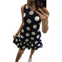 Buy Polka Dot Dress Summer Elegant Vintage O Neck Sleeveless Ruffles Dress 2018 Women Sexy Casual Retro Party Dresses LY002F for $10.21 in AliExpress store