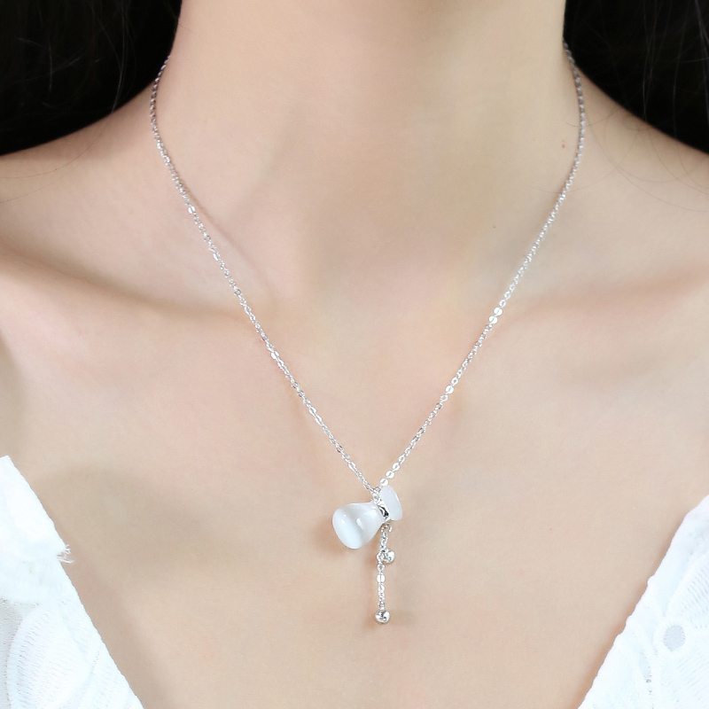S925 silver necklace woman stone simple accessories clavicle short paragraph birthday gift to send his girlfriend