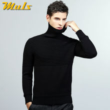 Muls sweaters men turtle neck striped pattern cotton male pullover dress men sweater autumn winter black blue gray jersey MS8929(China)