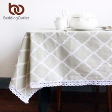 BeddingOutlet Green Diamond Pattern Tablecloth Cotton and Linen with Lacy Dinner Table Cloth Picnic Table Cover Desk Cover