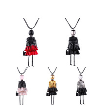 2016 Promotion Sales Fashion French Kids Bead Doll Pendant Necklace Jewelry Women Girls Long Necklace Lady wholesales Dropship