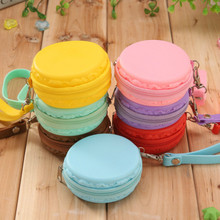 Waterproof Macaron Cake Silicone purse colors creative jewelry admission package girls headset bag ladies mini wallet kids gift