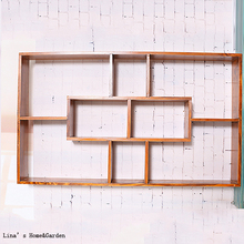 Pine Wood Floating Vintage Brown Shelving Wall(China)