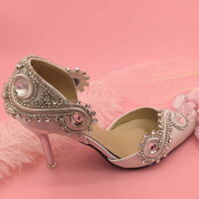 New Arrival Rhinestone Crystal Wedding Shoes Satin Bridal Shoes Pointed Toe High Heel Gorgeous Party Prom Shoes Bridesmaid Shoe(China)