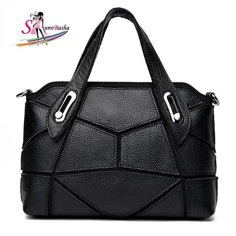 2017 new genuine leather handbags Europe and America leisure fashion stitching leather ladies shoulder black solid color handbag<br>