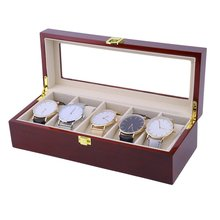 OUTAD 5 Grids Red Wooden Watch Box Fashion Storage Watch Display Case Jewelry Holder Organizer Casket(China)