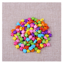 Hot  Five Star Shape Flat Beads 120pcs/Lot Wholesale Multi Color Acrylic Straight Hole Spacer Beads For Kids DIY Jewelry Making