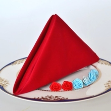 High quality 100% cotton hotel napkin high desnity red and white cotton napkin Chinese and Western restaurants napkin