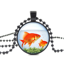 Glass Cabochon Pendant Necklace Red goldfish Art Picture Vintage Jewelry Black Bead Chain Long Necklace for Women Men Gift