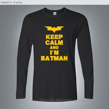 Free Shipping Mens 5 Colors Options Fashion Batman Print  Tees Black Red  Yellow White Dark Knight Batmen  Long Sleeve T Shirt