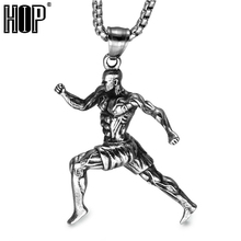 HIP Strong Man Muscle Man Pendant Necklaces Titanium Stainless Steel Sports Gym Fitness Runners Necklace For Men Jewelry(China)