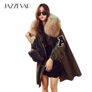 De JAZZEVAR Nuevo invierno parkas chaqueta suelta prendas de abrigo con capucha ropa de las mujeres verde del ejército grande mapache cuello de piel outwear de calidad SUPERIOR