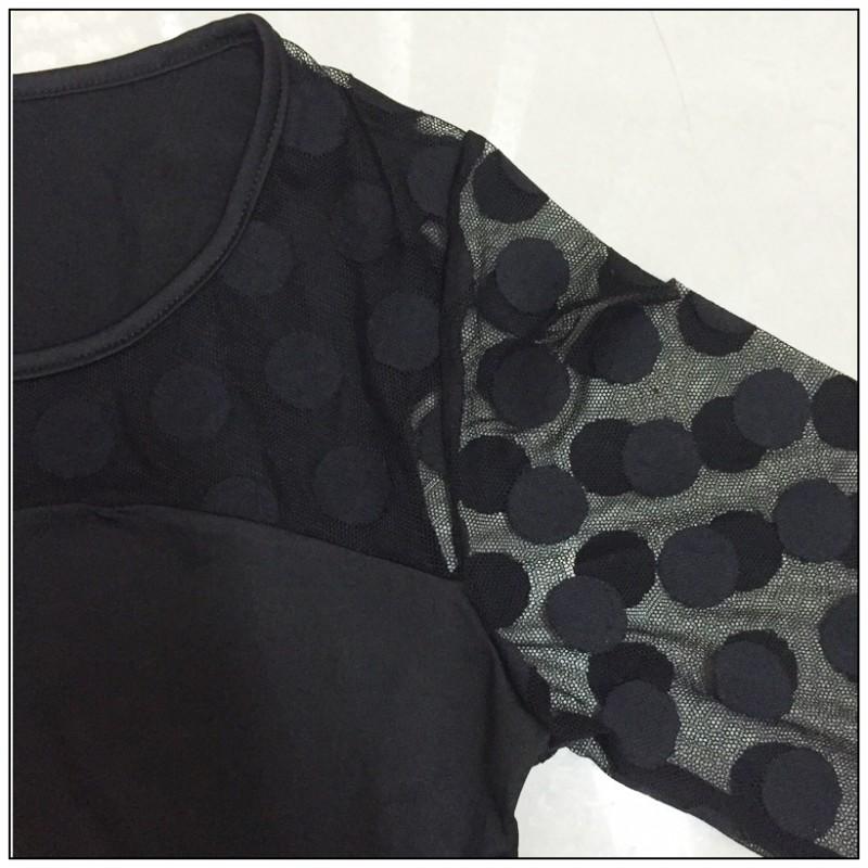 MOBTRS Ladies Chiffon Shirt Fashion Sexy Tops For Women All-Match Womens Hollow Shirt Lace Tshirts Women's Long Sleeves TShirt 6