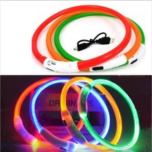 1 PS Solid LED High Quality USB Luminous Pet Dog Cat Collars Flash Waterproof Rechargable Safety Equipmen 8 Colors 3 Sizes