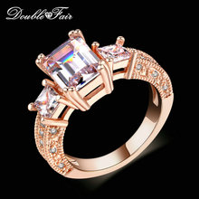 Top Quality Square Cut Cubic Zircon Engagement/Wedding Rings Silver/Rose Gold Color Fashion Jewelry For Men and Women DFR332M
