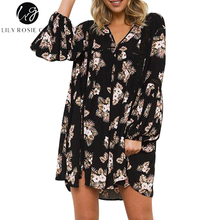Lily Rosie Girl Black Floral Print Mini Dress Women V Neck Boho Autumn Winter Long Sleeve Hollow Out Sexy Short Dresses Vestidos