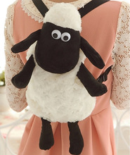 2016 Hot Cartoon Shaun The Sheep Plush Backpacks Kawaii 25cm 30cm Stuffed Animal Sheep Shaun Plush Toys for Children School Bags