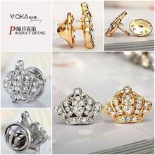 High-end European and American mini full crown brooch barbed horse needle accessories suits shirts