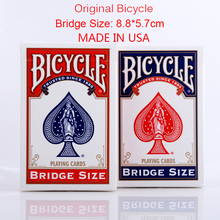 1 Deck Original Bicycle Bridge Size Playing Cards Blue or Red Brand Sealed Poker Magic Card For Small Hands Magic Tricks 81216(China)