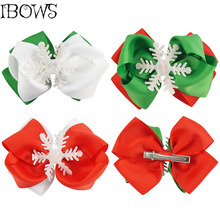 2017 Christmas Grosgrains Ribbon Hair Bow Clips With snowflake Hair Accessories For Girls Kids Gift Cute Christmas Bows