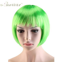 SNOILITE Halloween Short Synthetic Hair Straight Full Bob Wigs Style for Cosplay Party 12 Color Available(China)