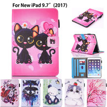 Fashion Cartoon Silicone PU Leather Cover For Apple New iPad 9.7 2017 A1822 Case Funda Tablet Owl Cat Dog Pattern Stand Shell(China)