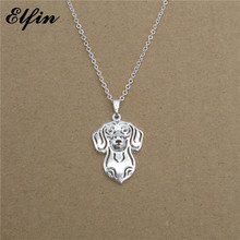 Elfin 2017 Trendy Dachshund Necklace Gold Color Silver Color Dog Jewellery Dackel Teckel Pendant Necklace Women steampunk(China)