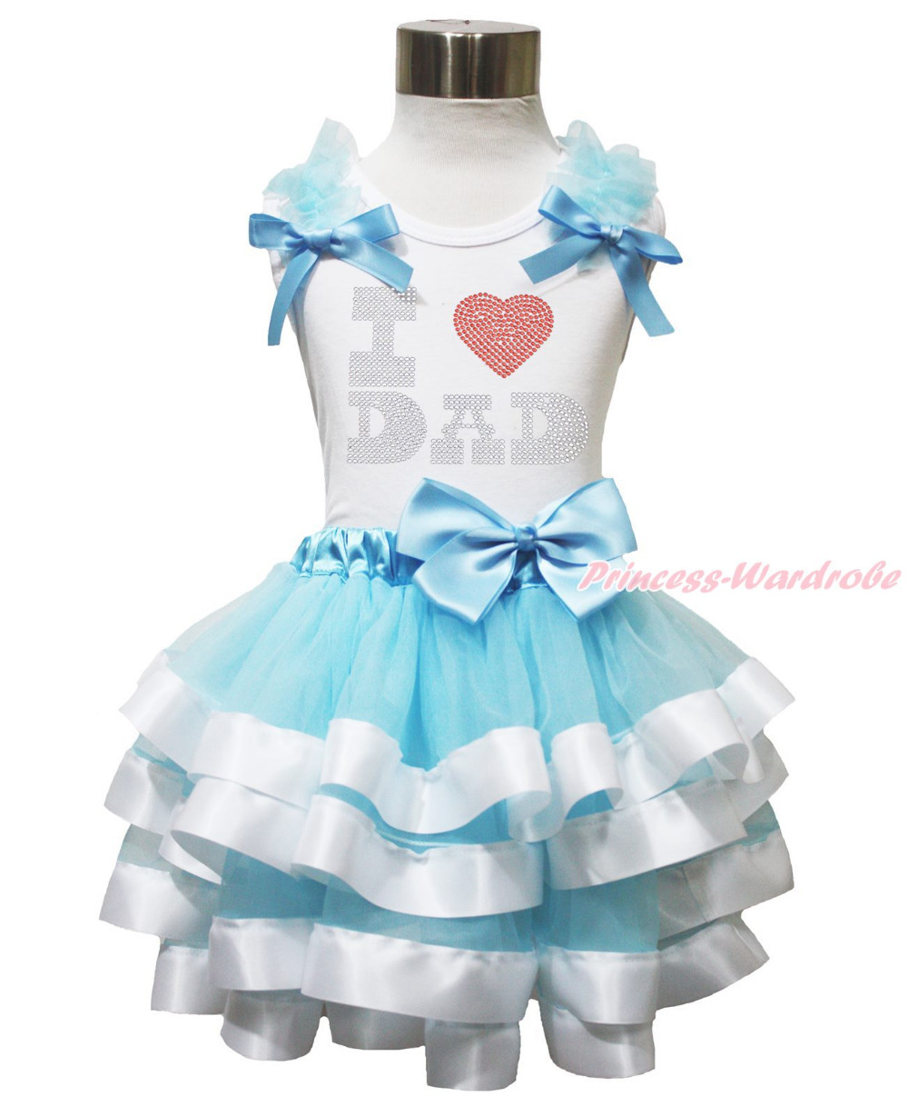 Fathers Day I LOVE DAD Princess Cinderella Satin Trim Skirt Girl Outfit NB-8Y MAPSA0609<br>