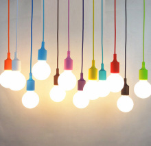 Modern Colorful Silicone Pendant Lights for Restaurant E27 Pendant Lamp Hloder 16 Colors Vintage Edison Bulbs led Pendant Light