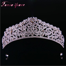 Loura Shace Wedding Bride Hair Accesories Crystal Full Drill Crown Tiaras For Women Romantic Wedding Hair Jewelry Bijoux